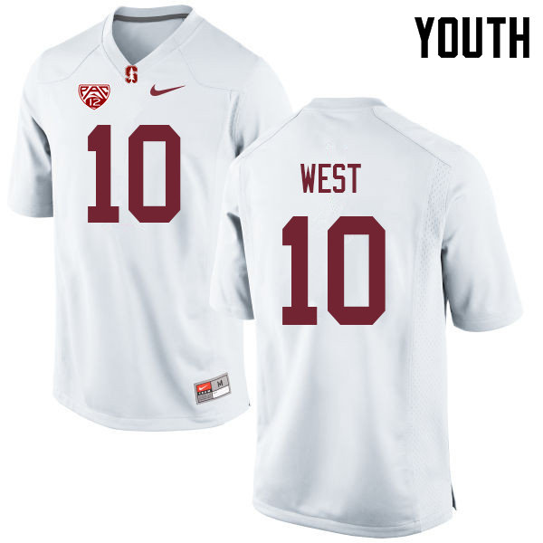 Youth #10 Jack West Stanford Cardinal College Football Jerseys Sale-White